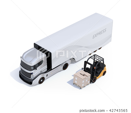 電動卡車和電動鏟車的形象 42743565