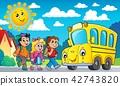Children by school bus theme image 2 42743820