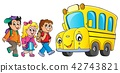 Children by school bus theme image 1 42743821