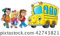 Children by school bus theme image 1 42743821