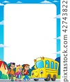 Children by school bus theme frame 1 42743822