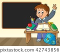 Boy behind school desk theme image 2 42743856