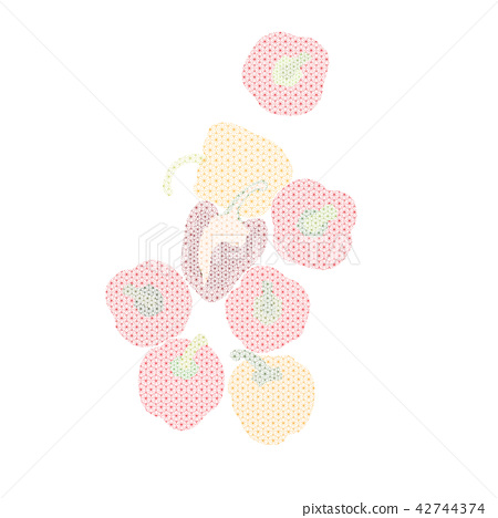 Bell pepper vector template with Japanese pattern. 42744374