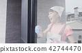 woman housewife wipe windows 42744470