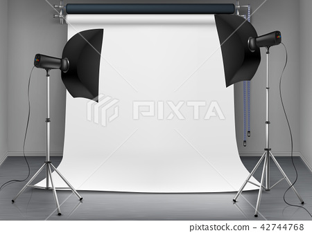 Vector empty photo studio with lighting equipment 42744768