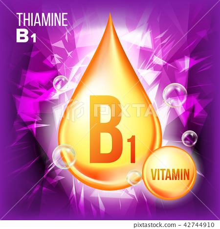 Vitamin B1 Thiamine Vector. Vitamin Gold Oil Drop Icon. Organic Gold Droplet Icon. For Beauty 42744910