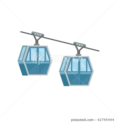 Two blue cabins on ropeway. Modern cable transport in Hong Kong. Public cableway. Flat vector for 42745444