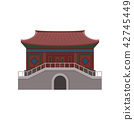 Ancient temple in Hong Kong. Traditional Chinese building. Asian architecture theme. Flat vector for 42745449