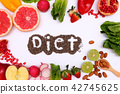 "Healthy fruits and vegetable with the word ""diet"" 42745625"