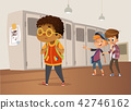 Sad overweight African-American boy wearing glasses going through school. School boys and gill 42746162