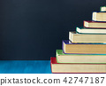 Stack steps stairs of old books on background black chalkboard 42747187