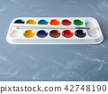 Accessories for drawing. Watercolors and brushes 42748190