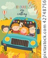 Cute children traveling by bus 42748756