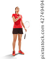 Young woman badminton player standing over white background 42749494