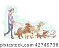 Dog Walker Man Illustration 42749736