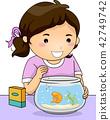 Fish Pet Kid Girl Feeding Illustration 42749742