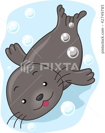 Seal Swimming Illustration 42749785