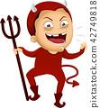 Kid Boy Devil Costume Illustration 42749818