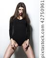 Sexy beautiful brunette woman in underwear 42750961