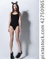 Sexy beautiful brunette woman in underwear and rim 42750965