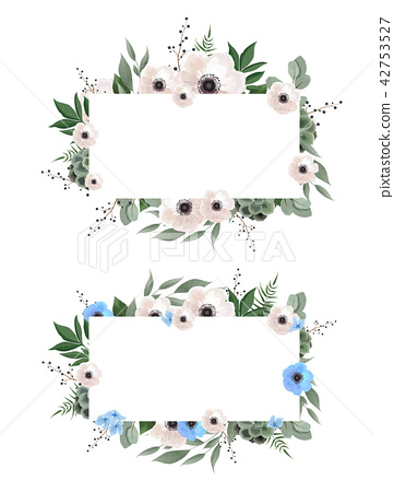 Floral wreath with green eucalyptus leaves, flower rose, anemone . Frame border with copy space 42753527