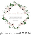 Floral wreath with green eucalyptus leaves, flower rose, anemone . Frame border with copy space 42753534