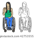 woman sitting in wheelchair with hand gesture  42753555