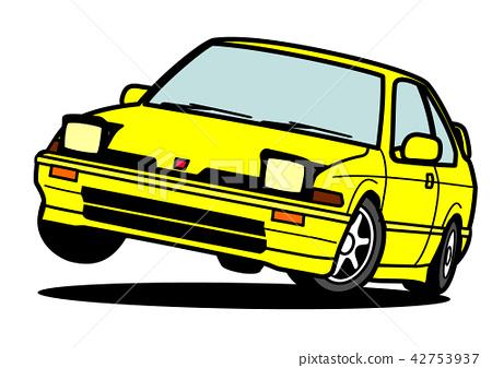 Nostale國內緊湊小轎車黃色汽車例證 42753937