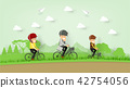 illustration vector of family cycling on mountain 42754056