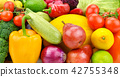 set of fresh vegetables and fruits.  42755348