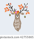 Autumn greeting, card, invitation. Hand drawn illustration of deer decorated by colorful oak leaves 42755665