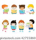 kids reading books for education vector set 42755860