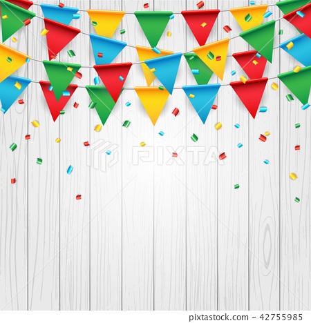 Party celebration flag on white wood background 42755985