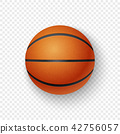 Vector realistic 3d orange brown classic basketball icon closeup isolated on transparency grid 42756057