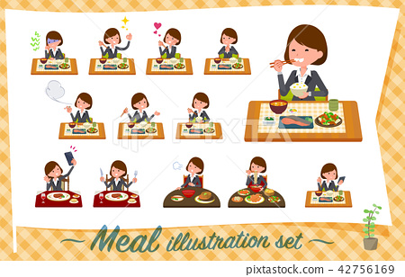 flat type Gray suit business women_Meal 42756169