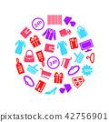 Cartoon Silhouette Shopping Round Design Template. Vector 42756901