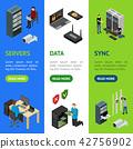 Server Hardware Banner Vecrtical Set Isometric View. Vector 42756902
