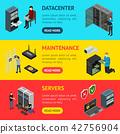 Server Hardware Banner Horizontal Set Isometric View. Vector 42756904