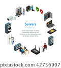 Server Hardware Banner Card Circle Isometric View. Vector 42756907
