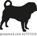 Pug silhouette 42757410