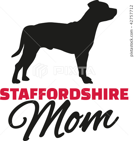 Staffordshire Terrier Mom with dog silhouette 42757712