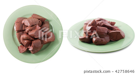 Boiled Pig Blood Curd on White Background 42758646