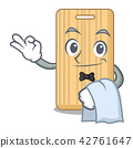 Waiter wooden cutting board mascot cartoon 42761647