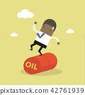 Businessman balancing on oil barrel rolling. 42761939