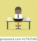 African businessman meditation in office. 42762596