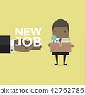 Businessman holding a box with new job offer. 42762786