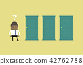 African businessman standing beside three doors. 42762788