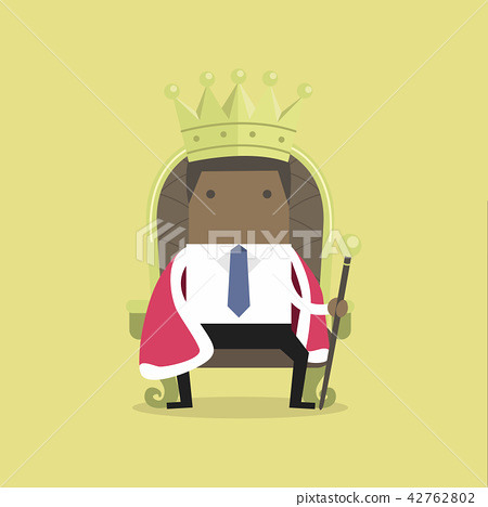 Businessman sitting on the throne with the crown. 42762802