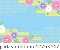 在淺蘭的地面的日本樣式背景菊花和雲彩樣式 42763447