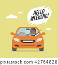 Businessman traveling by car, Hello weekend.. 42764828